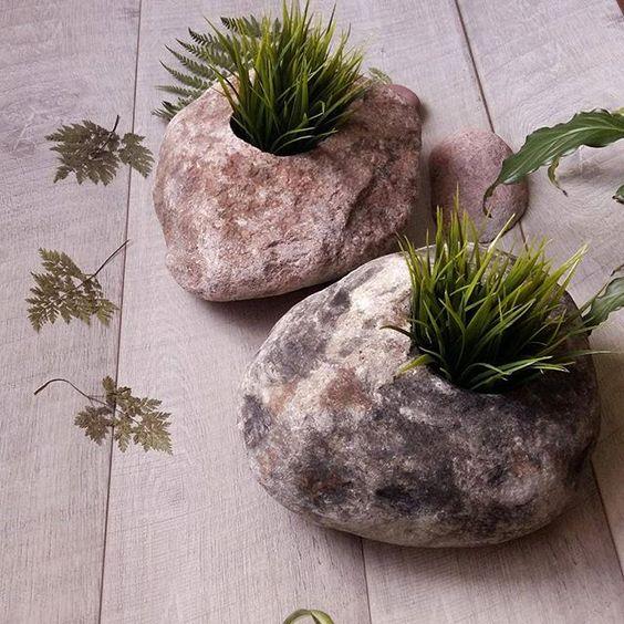Stone planters flower pots